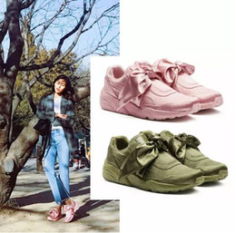 Wholesale Ivory Satin Round Toe Shoes - 2017 With 11colors good shoes bowknot Suede Basket Heart satin fenty rihanna Creeper Skate shoes running shoes.kids SIZE 36-40