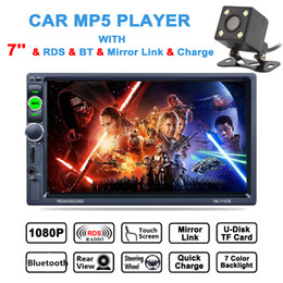 Wholesale car dvd monitors - DHL 7 Inch 2 DIN HD Touch Screen Car Video Stereo Player Bluetooth AM FM RDS Radio Support Mirror Link Aux In + Rear View Camera CMO_22G