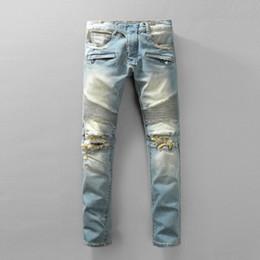 Wholesale Brown Skinny Jeans Mens - New France Pierre Jeans Men Runway Biker Skinny Slim Denim Trousers Cowboy Famous Brand Zipper Designer Hot Sale Mens Designer Jeans