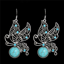 Wholesale Wholesale Butterfly Earrings - 1pair Jewelry Ethnic Vintage Tibetan Silver Stone Royal Butterfly Dangle Earrings