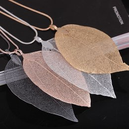 Natural Real Leaf Pendant Necklace for Women 60cm Chain Lenght Long Necklaces 4 Colors Sweater Necklaces