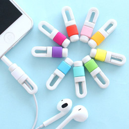Wholesale Cable Wrap Earphone - 1000pcs lot Earphone Cable Winder Cord Organizer Management Bobbin Wrap Digital Cable Protector For iPhone Earpods only Links Cord