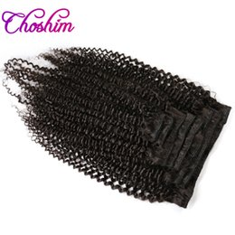 kl hair Coupons - Choshim KL Hair Brazilian Kinky Curly Virgin Hair Clip in Human Hair Extensions Natural Color Clip-ins Full Head 8Pcs Set Free Shipping