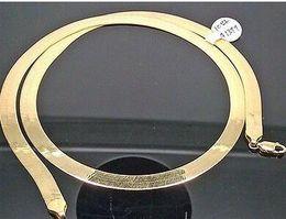 Wholesale Width 7mm - 10K Yellow Gold 24 Inch 7mm Width Herringbone Men Women Necklace