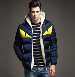 Wholesale Cheap Casual Hoodies - Factory cheap price winter men coats cotton-padded clothes yellow eyes slim hoodies ff outerwear garment plus size 4XL