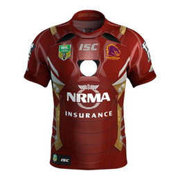Wholesale El Shirt Iron Man - Brisbane Broncos 2017 Marvel iron man jersey Rugby Jerseys shirt S-3XL Free shipping rugby shirts size S - 3XL