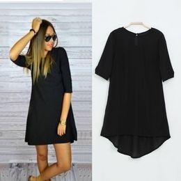 Wholesale Dovetail Dresses - 2017 Casual Dress New Stylish half Sleeve O-neck Loose black Dovetail Dresses Plus Size vestidos Drop Shipping