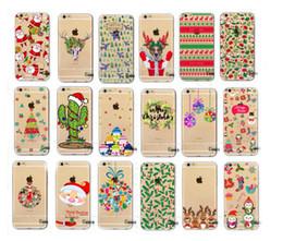 Wholesale Iphone Snowman - For iphone 7 Christmas cases Xmas snowman Father christmas tree case Flowers santas little helper Cover For Iphone 7 plus 6s plus 5s se hot
