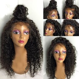 Wholesale Deep Curly Wigs - New Arrival Brazilian Virgin Remy Human Hair Deep Wave Curly African American Glueless Full Lace Wig Front Lace Wig For Black Women