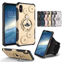 Wholesale Gear Case Cover - Mechanical Gear TPU+PC hybrid Case Sports Gym Running Armband Stand Holder Cover Armor Cases For iPhone X 7 6 Plus Samsung Note 8