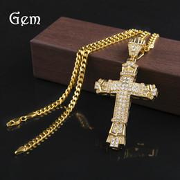 Wholesale Cross Ornaments - Gold Diamond Cross Pendant Necklace For Men Hip Hop Ornaments Jewelry Pendant Necklaces Fashion Accessories Wholesale