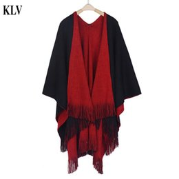 Wholesale Knit Cardigans For Women - Wholesale- Hot Stylish Fashion Solid Winter Warm Women's Cashmere Knitted Poncho Capes Shawl Cardigans Sweater Coat For Women 5 Colors No21