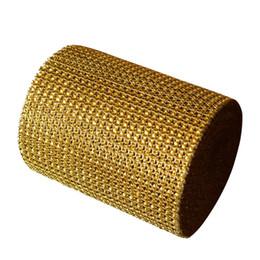 """Diamanten netzband online-Großhandels-4,75 """"x15 FT Goldhochzeits-Diamant-Maschen-Verpackungs-Rolle Schein-Rhinestone, die freies Verschiffen des Bandes schauen"""
