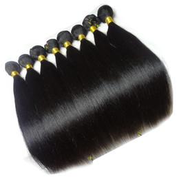 18 polegadas de cabelo malaysian on-line-Não processado Preço Barato Malaio Virgem Cabelo Liso, Mistura Comprimento 12-30 polegada, 8 pacotes / lote, 100% Extensão Do Cabelo Humano, frete Grátis