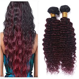 Wholesale Dark Red Virgin Hair - 9A Peruvian Ombre Hair 3Pcs Dark Roots Burgundy Red Bundles Deals Deep Wave #1B 99J Wine Red Ombre Virgin Remy Hair Double Wefts