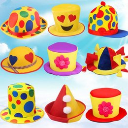 Wholesale Dance Costume Accessories Hat - 2017 New Colorful Circus Clown Hat Caps Adults Men Women Stage Performance Props Cosplay Costume Accessories Party Supplies