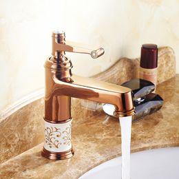 Wholesale Gold Basin Faucet - European Retro Rose Gold Bronze Ceramic Basin Faucet Singe Handle Kitchen Deck Mounted Sink Mixer Tap Bathroom Faucet