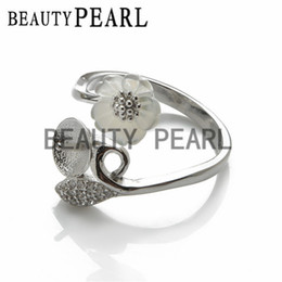 Wholesale Sterling Leaf - Bulk of 3 Pieces Ring Findings White Shell Flower Leaf 925 Sterling Silver for DIY Pearl Ring Mount