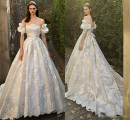 Wholesale Fairy T Shirt - Fairy Juliet Vintage Lace Wedding Dresses with Off-shoulder 2017 Princess Church Train Backless Garden A-line Bridal Gowns