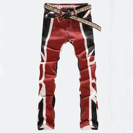 Wholesale Colored Drawing Jeans - Wholesale-Free shipping COOL Elastic jeans male slim English flag colored drawing straight men's print jeans male flower denim pants