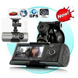 "Wholesale Video External - Hot Dual Camera Car DVR R300 External GPS 3D G-Sensor 2.7"" TFT LCD X3000 FHD 1080P Video Camcorder Cycle Recording Dash Cam"