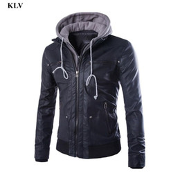 Wholesale Leather Stylish Winter Jacket - Wholesale- Newly Stylish Fashion Winter Warm Men Slim Hooded Patchwork Faux Leather Hoodie Jacket Tops Casual Coat Outerwear Men No29