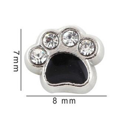 Wholesale Paw Floating Charm - 7*8mm Crystal Enamel Black Dog Paw Floating Locket Charms Fit For Glass Magnetic Memory Locket Pendant