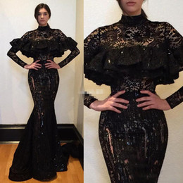 Wholesale See Through Lace Short Dresses - Saudi Arabia Black Lace Prom Dresses 2017 High Neck Long Sleeves Mermaid Evening Gowns Sexy See Through Women Formal Party Dress