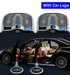 Wholesale Ford Emblems - 2 Pcs LED Car Door Welcome Projector Logo Ghost Shadow Laser Emblem Light for Buick Ford Suzuki Jeep Fiat Chevrolet Kia Free Shipping