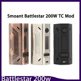 Cajas compactas online-Smoant Battlestar 200W Box Mod Nuevos colores 200Watt Vape Mod Dual 18650 Batería 510 Conector de rosca Diseño compacto 0266132