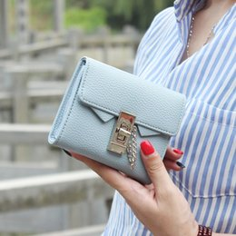 Wholesale Passport Holder Pink Leather - Wholesale- Fashion litchi stria Pu leather women wallet solid short women purse female brand 2017 wallet for women small chain lock wallet