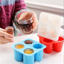 Wholesale Tray Mold Cup Ice Cube - 4 Grid Ice Mold Silicone Ice Cream Mould Ice Tray Cup Cube Mold Wholesale