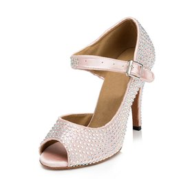 Wholesale Hot Latin Shoes - Custom hot diamond adult shoes women's high-heeled Latin dance shoes Ballroom dancing shoes