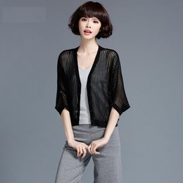 Wholesale Wool Quarter - Fashion Breathable Ladies Knitted Cardigan Coat Invisible Striped Button Decoration Three Quarter Batwing Sleeve Tops 9506