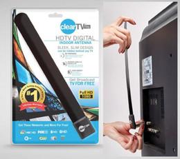 Antena oculta online-Clear Tv clave HDTV antena interior digital elegante diseño delgado escondido detrás de la televisión Obtenga la televisión de transmisión gratuita OM-I6
