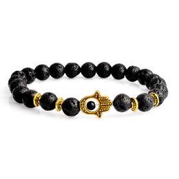 Wholesale Hand Bracelet For Women - 2017 Volcano bracelets for girls statement jewelry Fashion Wholesale Natural lava volcano stone Eyes hand Beaded Bracelets bangles for women