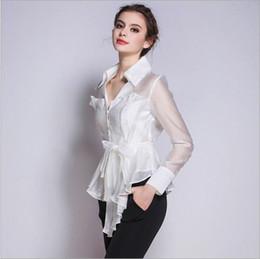 Wholesale Korean Women S Casual Wear - Korean New Fashion Women Clothes 2016 V-neck Long Sleeve White Shirt Women Office Wear White Elegant Pure Silk Blouses