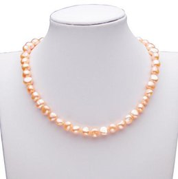 Wholesale Wholesale South Sea Pearl - AAA 9-10mm south sea pink Baroque pearl necklace 17 inch 925 silver clasp