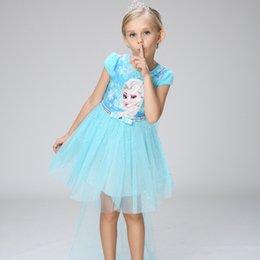 Wholesale Dot Cape - New Girls Tutu Dress Shiny Blue Pink Elsa Anna Princess Girl Dresses With Cape Top Quality Children Clothes Party Costume Lace