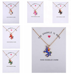 Wholesale nobles chains - 2017 New Dogeared Necklace With Card Rainbow Unicorn Colored Glaze Horses Pendant Noble and Delicate Silver Choker Valentine Day Gift