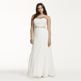 Wholesale Crinkled Dress - Crinkle Chiffon Draped Plus Size Wedding Dress Strapless Ruched Bodice Simple Elegant Bridal Gowns Beading Sash 9V3540