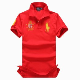 Wholesale Crown Tee - Fashion Brand Turn-Down Collar Men's polo Double crown Short sleeves Ralph t -shirts Men's Tees Polos