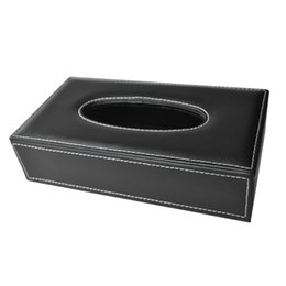 Wholesale Wholesale Leather Tissue Box Holders - Wholesale- SZS Hot Car Home Rectangle Shaped Faux Leather Case Paper Tissue Box Holder Black