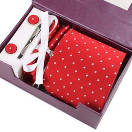 Wholesale pink ties handkerchiefs - Men Polyester Neck Tie Set Fashion Classic Business Wedding Party Mens Suit Formal Neckties Polka Dots Tie Handkerchief Cufflink 5 PCS   Set
