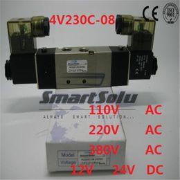 "Wholesale water solenoid valve 12v - solenoid valve 4V230C-08 Double coil Port 1 4"" BSP 12V DC 5 3 way control valve with Plug type red LED light"