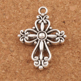 Wholesale Wholesale Religious Jewelry Cross - Filigree Flower Cross Religious Spacer Charm Beads 100pcs lot Antique Silver Pendants Alloy Handmade Jewelry DIY L425 20.5x27.9mm