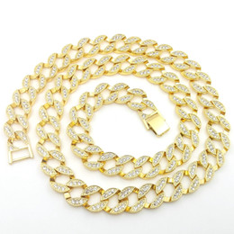 Wholesale 15mm Chain - 18K Yellow Gold Lab CZ Diamond Cuban Chain Link Micro Pave Miami NB Iced Out Men Necklace 140g 76CM 30INCH 15MM Wide