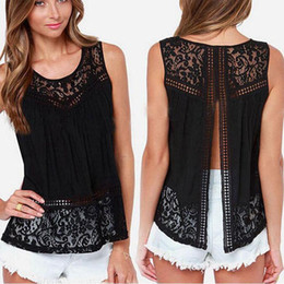 Wholesale Black Lace Shirt Chiffon Blouse - 2017 Summer Plus Size Women Chiffon Shirts Crochet Lace vest Blouse Shirt Sexy Open Back Sleeveless Tank Tops Black
