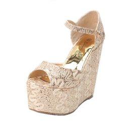 Wholesale Elegant Sandals Shoes For Wedding - Fashion Ankle Strap High Wedges Platform Pumps For Women Fish Mouth Sandals Casual Elegant Wedges Platform Shoes Heel Height 15CM