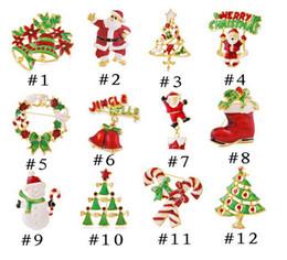 Wholesale Theme Pins Wholesale - Christmas Theme Brooch Pin Gift Beautiful Multi-colored Metal Christmas Brooch Pin Set Christmas Tree Brooches in BulkD096